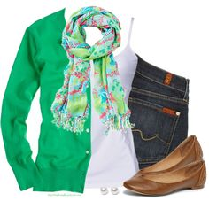 Spring green by steffiestaffie on Polyvore featuring J.Crew, 7 For All Mankind, D&G, Steve Madden and Nouv-Elle