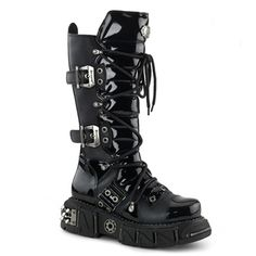 Demonia DMA-3006 Men's Gothic Buckle Boots by Demonia.  Tonal Black Patent and matte PU boots with industrial metal detailing.  Boxer-201 mens platform boots from Demonia.  Demonia Demonia DMA-3006 Men's Gothic Buckle Boots.