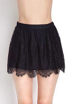 Scalloped Lace Mini Skirt | FOREVER21 - 2000070758