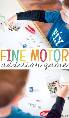 Fine motor skills is something that all of your students need to develop. Add fine motor to math and the result is this wonderful and easy fine motor addition game for your kindergarten students. Along with a free printable, this hands-on, fine motor activity game will have your kindergartners enjoying addition. #math #mathgames #kidsactivities #classroom #freeprintable #finemotorskills #addition #additiongames