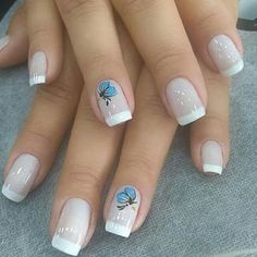 Gel Nails French, Happy Nails, Nail Art Diy, Butterfly, Hairstyle Ideas, Gorgeous Nails, Work Nails, Enamels, Vestidos