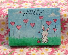 Children's art - Love You Forever Bunny & Ladybug friends inspirational mini canvas painting, acrylic 2.5 x 3.5 canvas (mini easel included)...
