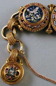 Micro Mosaique - Bracelet 'Colombes et Angelot' - Or jaune