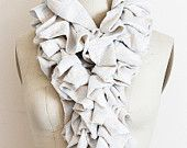 White Pleated Scarf in Soft Knit Striped Fabric Free Form Romantic Look