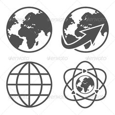 Globe Earth Icons Set — Photoshop PSD #planet #around • Available here → https://graphicriver.net/item/globe-earth-icons-set/5968754?ref=pxcr
