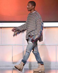Pharrell Wears Stella McCartney Fringe Oversized Sweater, G-Star Jeans and Timberland Boots   UpscaleHype