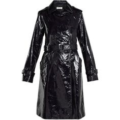 Diane Von Furstenberg Double-breasted patent-leather trench coat ($1,725) ❤ liked on Polyvore featuring outerwear, coats, diane von furstenberg, navy, patent leather coat, double-breasted coat, shiny trench coat, collar coat and navy trench coats
