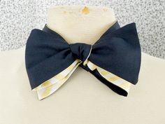 "Navy Silk Bowtie with Gold Gingham Silk Reverse <a href=""https://www.etsy.com/listing/116378547/navy-silk-bowtie-with-gold-gingham-silk"" rel=""nofollow"" target=""_blank"">www.etsy.com/...</a>"