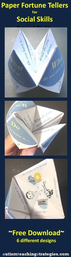 """Social Skills 58054282673109921 - Another version of social skills paper """"fortune tellers. Source by mareinemarthe Social Skills Lessons, Social Skills Activities, Teaching Social Skills, Counseling Activities, Therapy Activities, Life Skills, Therapy Ideas, Shape Activities, Autism Teaching"""
