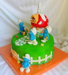 Gâteau des Schtroumpfs (Kids birthday Smurfs cake)