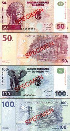 Democratic Republic of the Congo:  50 Francs 4.1.2000 SPECIMEN; 100 Francs 4.1.2000 SPECIMEN.