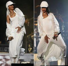 Rihanna performing in Abu Dhabi wearing KTZ Spring/Summer 2014, Comme des Garcons platform sneakers
