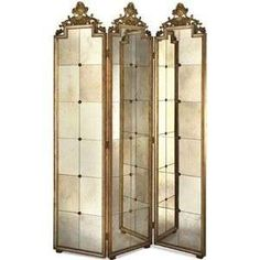 Antiqued Mirror Room Screen, antiqued mirrored panels with gold accents, n Rustic Furniture, Antique Furniture, Living Room Furniture, Modern Furniture, Mirror Furniture, Antique Decor, Outdoor Furniture, Mirror Panels, Floor Mirror