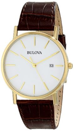 Bulova Men's 97B100 Gold-Tone Stainless Steel and Brown Leather Watch Bulova http://www.amazon.com/dp/B002LUEI9Q/ref=cm_sw_r_pi_dp_fZpLtb06FZGDF87C
