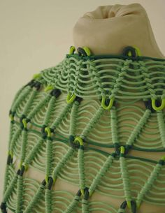 Jenni Barrett this garment almost looks as though its made entirely out of green liquorice. Fabric Manipulation Techniques, Textiles Techniques, Trend Council, Creative Textiles, Fashion Details, Fashion Fashion, Vintage Sewing, Textile Art, Diy Clothes