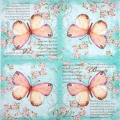 4 Single Party Paper Napkins for Decoupage Decopatch Craft Butterfly Poetry