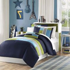 4 Piece Full Queen Navy Teal Blue Light Green Striped Comforter Set, Geometric Pattern Grey Rugby Stripes, Modern Circuit Design, Olive Vibrant Colorful Bedding for Boys, Rectangle Blocks Patchwork Kids' Bedding Sets & Collections Purple Comforter, Yellow Bedding, Kids Bedding Sets, Comforter Sets, King Duvet Cover Sets, Duvet Covers, Twin Beds For Boys, Twin Twin, Colorful Bedding