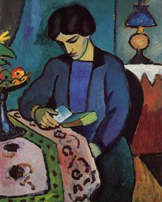 Blue Girl Reading August Macke 1914  August Macke (1887-1914) was born in Germany to working class parents. Although his father was a building contractor they both shared a love for painting. In 1907 Macke traveled to Paris where he saw the work of the Impressionists; he began painting in this style as well as creating Post-Impressionist works.  Macke was friends with Franz Marc and through him met Kandinsky; they formed the Der Blaue Reiter (The Blue Rider) movement which contributed…