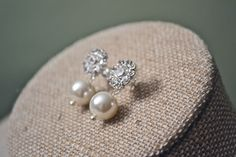 Patricia: Rhinestones, Sterling Silver Studs with Pearl Drop on Post Earrings - Ivory by HarleyMaeDesigns on Etsy https://www.etsy.com/listing/176946973/patricia-rhinestones-sterling-silver
