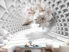 Papier peint Flowers in the Tunnel - 350 x 245 cm - 3d Wallpaper Decor, Wallpaper Roller, Wallpaper Stickers, Graffiti Wallpaper, Photo Wallpaper, 3d Living Room, Living Room Murals, Wall Art Designs, Wall Design