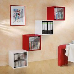 QUATTRO CUBE shelves, lacquered MDF or wood - through safety glass shelf included, with or without door - deco and design