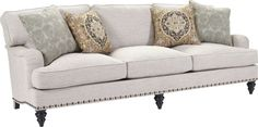 Broyhill Ester Sofa Irresistible comfort combined with vintage character provide a timeless profile for your nest. The Ester Sofa seamlessly fits into today's modern traditional home. The irresistible comfort of the CLOUD 44 cushion is perfect when combined with Ester's chameleon character. She can be dressed up or down…colorful and fun or neutral and subdued. Nailhead trim creates a fresh finishing touch.
