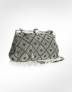 Forzieri Crystal Jeweled Evening Clutch w/Chain Strap | FORZIERI