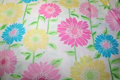 "Lilly Pulitzer fabric ""WHITE CABANA FLORAL"" , 100% cotton,  18 in x 18 in"