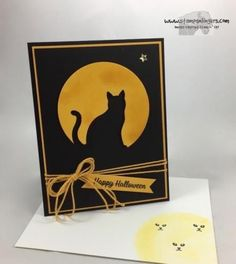 Stamps-N-Lingers.  I made this spooky fun Halloween card with the Spooky Cat stamp set and the bundled Cat Punch!  For free instructions on how to make this card, please visit my blog at: https://stampsnlingers.com/2017/09/08/stampin-up-spooky-cat-halloween-moon/