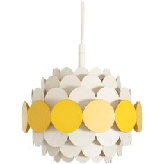 Doria Pendant Light in Yellow and White   From a unique collection of antique and modern chandeliers and pendants at https://www.1stdibs.com/furniture/lighting/chandeliers-pendant-lights/