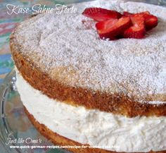 This recipe for cheese cake is called Käse-Sahne Torte, a baked cake and a no-bake whipped cream filling. Just one of the hundreds of delicious German recipes you'll find here!
