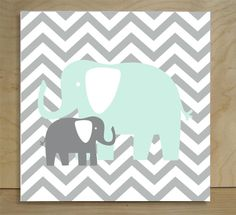 Elephants and Giraffes Chevron Canvas...wish I had seen this when Archer was a baby!