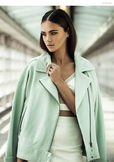 Jena Goldsack by Matallana in Style & the City  Top & Skirt Adeam, Jacket J Brand, Earrings & Ring Alexis Bittar