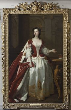 John Vanderbank, Lady Grace Carteret, Countess of Dysart, 1737, in original Palladian 'Kent' giltwood frame with outset corners, Ham House, Surrey See Link ie Frame Bog for more FYI