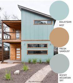 paint colors Modern exterior paint color with a mid century color combination Exterior Paint Color Combinations, Exterior Color Schemes, Exterior Paint Colors For House, House Color Schemes, Paint Colors For Home, Paint Colours, Exterior Gris, Modern Exterior, Exterior Design