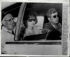 Joe Kennedy pictured with his son and daughter-in-law on their return from their tour of Latin America.The following day, the President's fathersufferedcrippling stroke on Dec. 19th 1961
