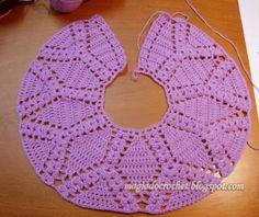 Magia do Crochet: Casaco em crochet para menina, lilás com flores em rosa