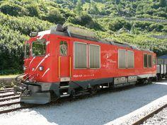 MGB - Zahnrad Diesellok HGm 4/4 61 im DFB Bahnhof Gletsch am 17.08.2013