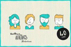 Hand-Illustrated Avatars by LukasFlekal on @creativemarket
