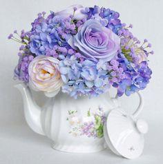 Teapot Silk Floral Arrangement, Artificial Flower Arrangement, Teapot Flower Arrangement, Silk Flower Arrangement, Silk Floral Home decor,