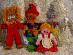 Vintage Bucilla Wizard of oz Felt Sequin Christmas Ornaments 2113