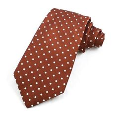 White and Brown Polka Dot Tie by Gitman. Buy for $75 from NecktieInStock.com