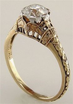Antique filigree ring with an Old European cut diamond. Antique filigree ring with an Old European cut diamond. Antique Engagement Rings, Antique Rings, Antique Jewelry, Vintage Jewelry, Antique Necklace, Antique Bracelets, Solitaire Engagement, Vintage Rings, Antique Silver