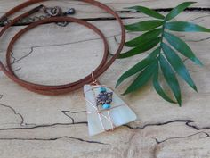 Wire Wrapped Pastel Glass Pendant Stained by UniqueChiqueJewelry