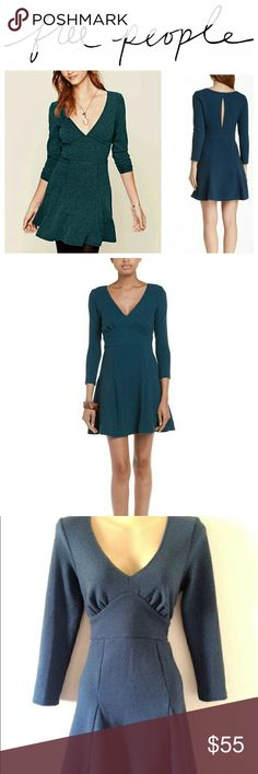 """Free People Heartstopper Fit & Flare Free People Heartstopper fit & flare dress.  Small snag in shoulder, could be pulled through bit dress is lined so won't attempt.  Color is teal combo or bluish green.  - NWOT/Tag cut - Keyhole back closure - Flared hem - Approx. 33"""" length - Shell: 79% polyester, 21% cotton - Lining: 100% rayon - Machine wash Free People Dresses Long Sleeve"""