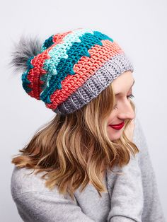 February's Furls CAL is this cute and cozy Andean Peaks Crochet Hat, with a lovely tri-stripe pattern and gorgeous peak stitches. It's an easy stitch, but it has a stylish effect. (see schedule for CAL below)