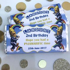 Personalised Bananas In Pyjamas Chocolate Wrappers Birthday Party Banana In Pyjamas, Lolly Bags, Birthday Chocolates, Wishes For You, Personalized Labels, Candy Buffet, Pop Tarts, 2nd Birthday, Snack Recipes