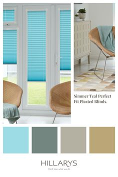 Our Perfect Fit Pleated blinds allow you to have total control over both privacy and light, easily adjusting each blind individually, so you can enjoy your space exactly the way you want to. Shimmer Teal Perfect Fit Pleated blinds have a soft hue of blue that appears similar to powder blue while the shimmering quality of this material makes it colour look brighter. View our range of PerfectFit Blinds. Perfect Fit Blinds, Fitted Blinds, Blue Interiors, Your Space, Interior Inspiration, Hue, Interior Decorating, Powder, Teal