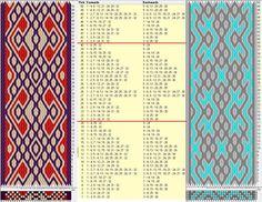 32 cards, 3 colors, repeats every 20 rows, & GTT༺❁ Inkle Weaving, Inkle Loom, Card Weaving, Tablet Weaving Patterns, Finger Weaving, Thread Art, Fiber Art, Weave, Crafty