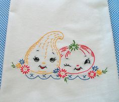 Hand Embroidered Dishtowel